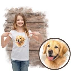 """Koszulka dziewczęca z psem """"golden retriever"""""""