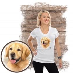 """Koszulka damska z psem """"golden retriever"""""""