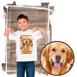 """Koszulka chłopięca z psem """"Golden retriever kocha zażarcie"""""""