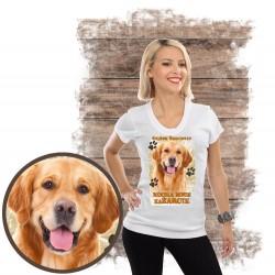 "Koszulka damska z psem ""Golden retriever kocha zażarcie"""