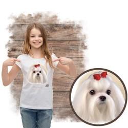 """Koszulka dziewczęca z psem """"maltańczyk"""""""