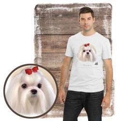 "Koszulka męska z psem ""maltańczyk"""