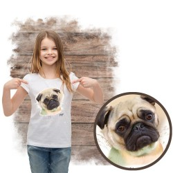 """Koszulka dziewczęca z psem """"mops"""""""