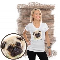 """Koszulka damska z psem """"mops"""""""