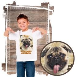 """Koszulka chłopięca z psem """"mops kocha zażarcie"""""""