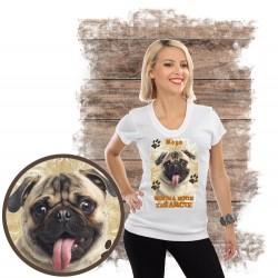 "Koszulka damska z psem ""mops kocha zażarcie"""