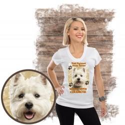 """Koszulka damska z psem """"west kocha zażarcie"""""""