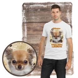 """Koszulka męska z psem """"chihuahuakocha zażarcie"""""""