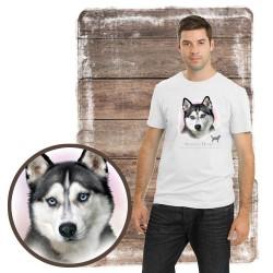 """Koszulka męska z psem """"siberian husky"""""""