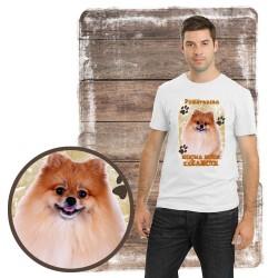 """Koszulka męska z psem """"pomeranian kocha zażarcie"""""""