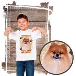 """Koszulka chłopięca z psem """"Pomeranian kocha zażarcie"""""""