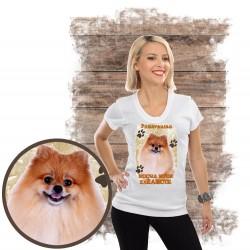 "Koszulka damska z psem ""pomeranian kocha zażarcie"""