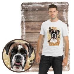 "Koszulka męska z psem ""bokser kocha zażarcie"""