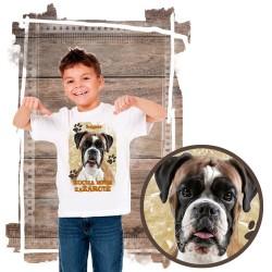 """Koszulka chłopięca z psem """"bokser kocha zażarcie"""