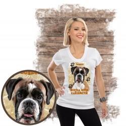 "Koszulka damska z psem ""bokser kocha zażarcie"""