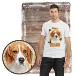 """Koszulka męska z psem """"beagle kocha zażarcie"""""""