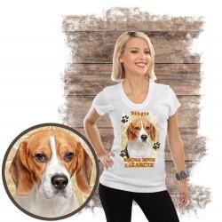 "Koszulka damska z psem ""beagle kocha zażarcie"""