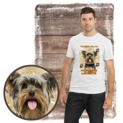 "Koszulka męska z psem ""yorkshire terier kocha zażarcie"""