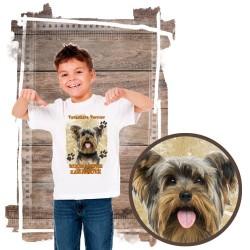 """Koszulka chłopięca z psem """"yorkshire terier kocha zażarcie"""""""