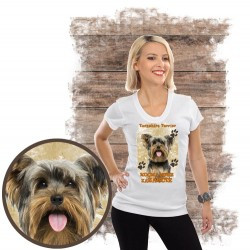 "Koszulka damska z psem ""yorkshire terier kocha zażarcie"""