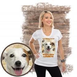 """Koszulka damska z psem """"jack russell terier kocha zażarcie"""""""