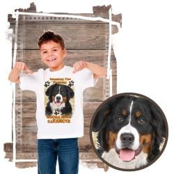 """Koszulka chłopięca z psem """"berneński pies pasterski kocha zażarcie"""""""
