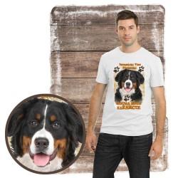 """Koszulka męska z psem """"Berneński Pies Pasterski kocha zażarcie"""""""