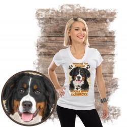 "Koszulka damska z psem ""berneński pies pasterski kocha zażarcie"""