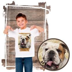 """Koszulka chłopięca z psem """"buldog angielski kocha zażarcie"""""""