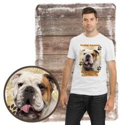 """Koszulka męska z psem """"buldog angielski kocha zażarcie"""""""