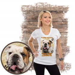 "Koszulka damska z psem ""buldog angielski kocha zażarcie"""