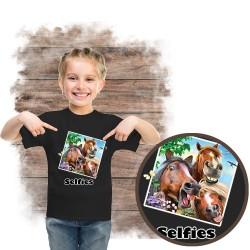 """Koszulka dziewczęca z koniem """"selfie 3 amigos"""""""
