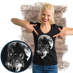 """Koszulka damska z wilkiem """"Wolf moon świeci w ciemności"""""""