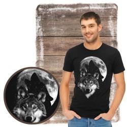 """Koszulka męska z wilkiem """"Wolf moon świeci w ciemności"""""""