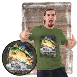 "Koszulka męska motyw wędkarski ""jumping striped bass"""