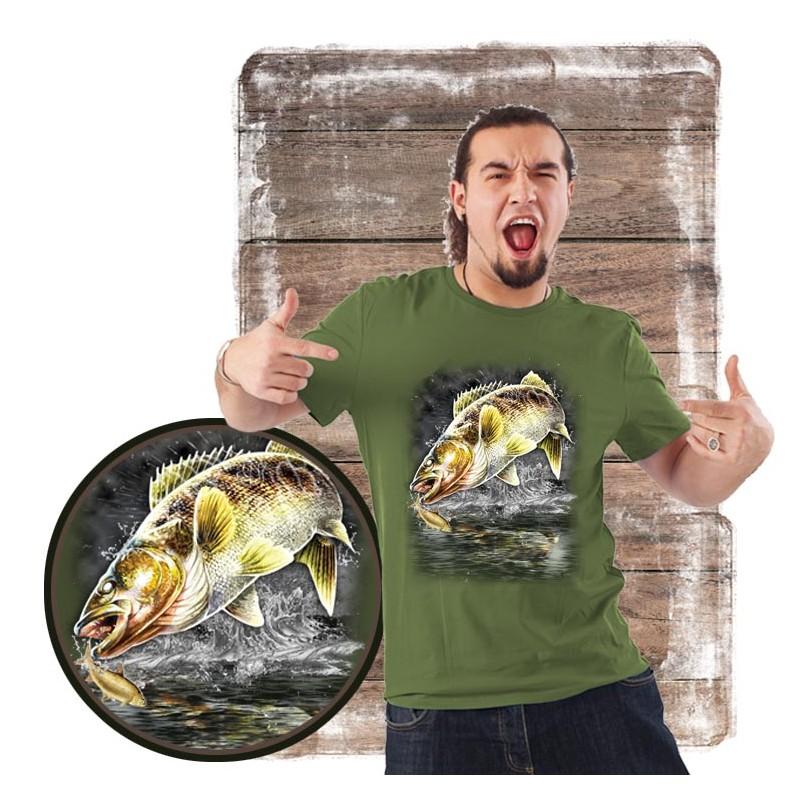 """Koszulka męska motyw wędkarski """"jumping walleye"""""""