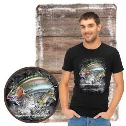 "Koszulka męska motyw wędkarski ""jumping rainbow trout"""