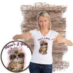 koszulka z kotem MEOW'S-IT-GOING-RHINESTONES