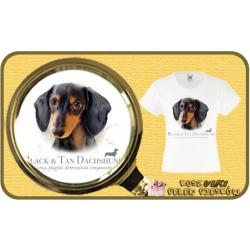 koszulka z psem jamnik czarny HR
