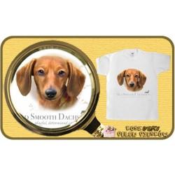 koszulka z psem jamnik brązowy