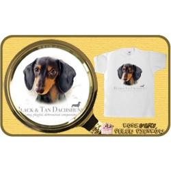 koszulka z psem jamnik czarny