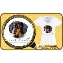Koszulka damska z psem jamnik czarny