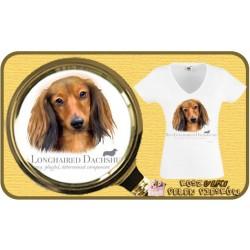 Koszulka damska z psem jamnik długowłosy