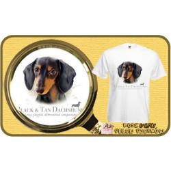 Koszulka męska z psem jamnik czarny