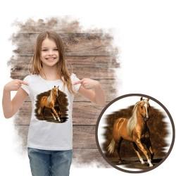 Koszulka dziewczęca z koniem GOLDEN-BOY