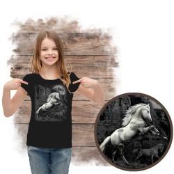Koszulka dziewczęca z koniem WHITE HORSE WILDERNESS