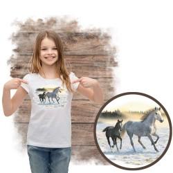 Koszulka dziewczęca z koniem SUNLIT MIST