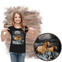 Koszulka dziewczęca z koniem HORSE WILDERNESS