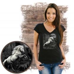 Koszulka damska z koniem WHITE HORSE WILDERNESS