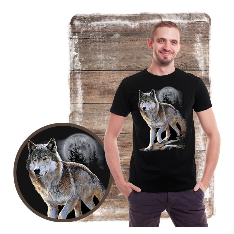 Koszulka męska z wilkiem WOLF ALERT